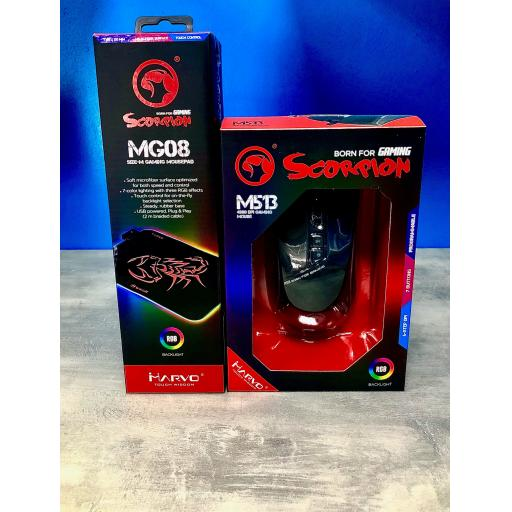 Marvo Scorpion MG08 Medium Gaming Mouse Pad and M513 Mouse RGB LED Bundle