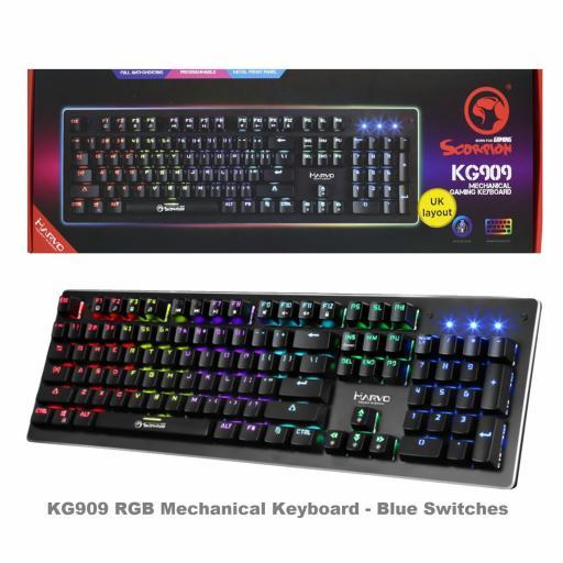 Marvo Scorpion KG909 RGB LED Full Sized Mechanical Gaming Keyboard