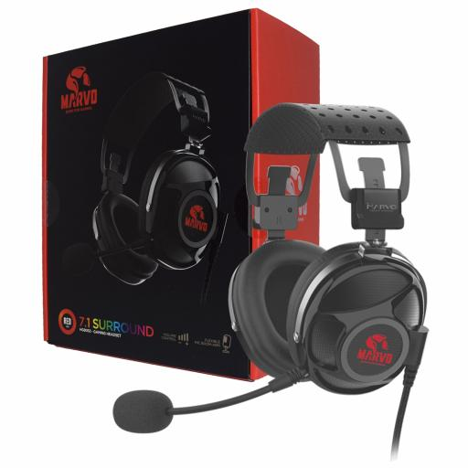Marvo Scorpion PRO Gaming HG9053 7.1 Virtual Surround Sound Red LED Gaming Headset